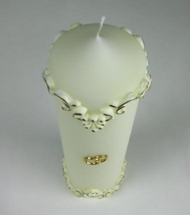 huwelijkskaars klassiek ornament, wit, goud, kaarsenfabriek Cobbenhagen