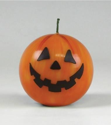 deze grappige oranje halloweenkaars net als een pompoen van kaarsenfabriek cobbenhagen