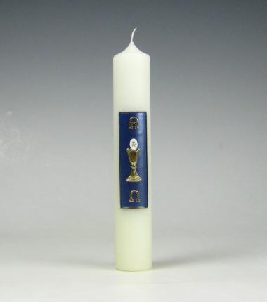 Eerste communiekaars | kelk met hostie | blauw | Cobbenhagen kaarsen