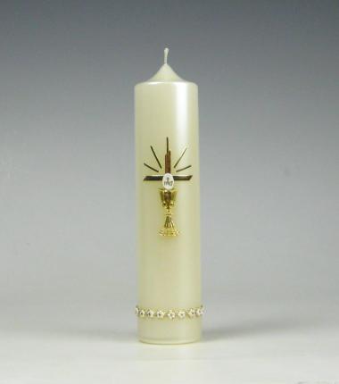 Communiekaars | hostie | bloemetjes | Cobbenhagen kaarsen
