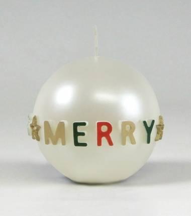 parelmoeren gelakte kerstkaars I merry christmas I | kerstkaarsen | Cobbenhagen kaarsen