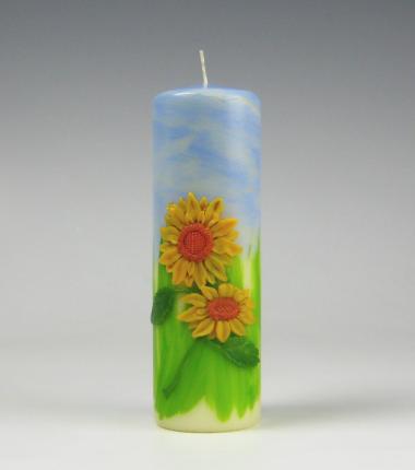 zonnebloemen kaars, sierkaars, bloemen kaars, Cobbenhagen kaarsen