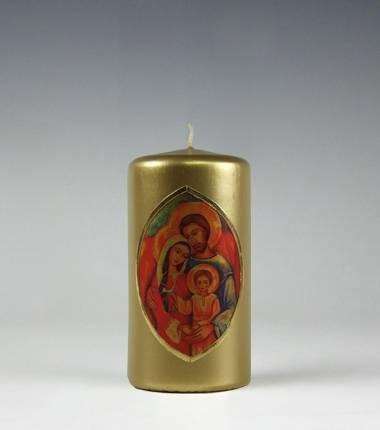 icoon I helige familie I gouden stompkaars I kaarsenfabriek Cobbenhagen