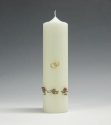 huwelijkskaars, roosjes, rood, Cobbenhagen kaarsen