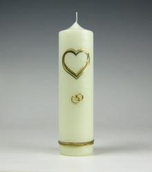 kaars, trouwkaars, goud hart, huwelijkskaars, Kaarsenfabriek Cobbenhagen
